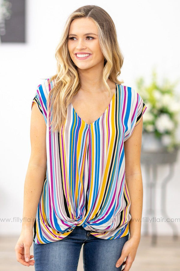 Take A Back Seat Multi-Color Striped V-Neck Knotted Top - Filly Flair