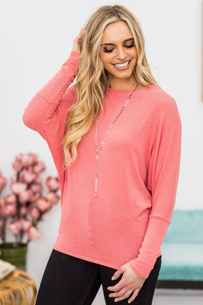 Color Me Up Long Sleeve Dolman In Coral - Filly Flair