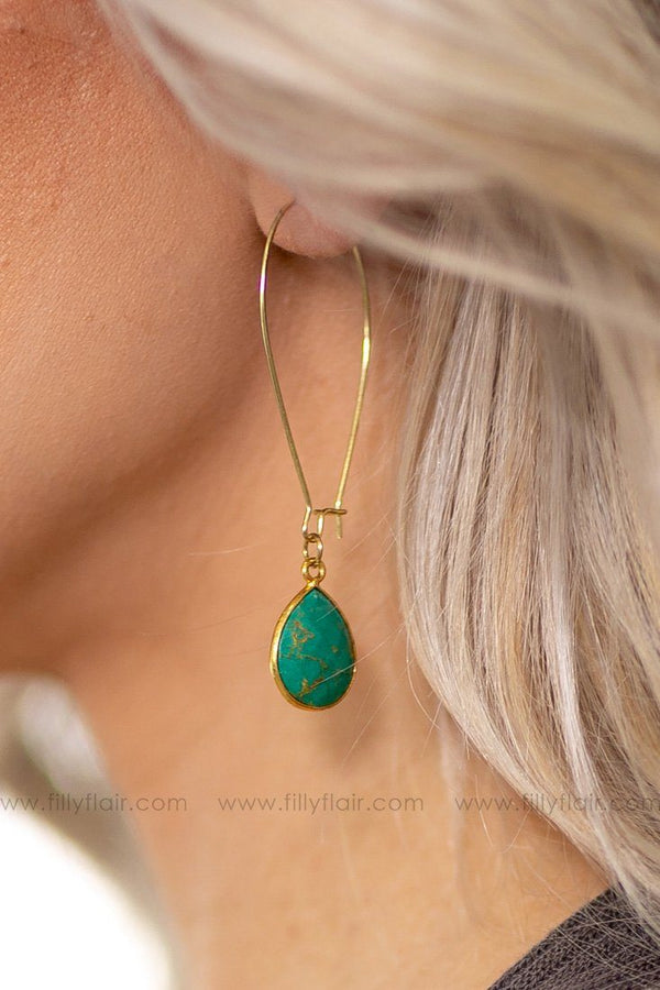 All I Can Do Turquoise Stone Drop Earrings - Filly Flair