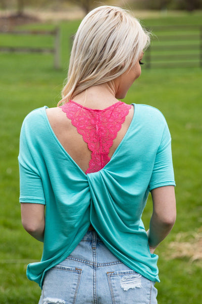 Don't Have To Worry Short Sleeve Twist Back Top in Turquoise - Filly Flair