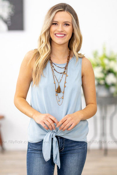 She's Everything To Me Sleeveless Knotted Tie Top in Light Denim Blue - Filly Flair