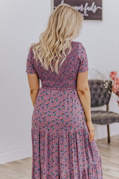 Be Someone's Strength Short Sleeve Floral Dress in Lavender - Filly Flair