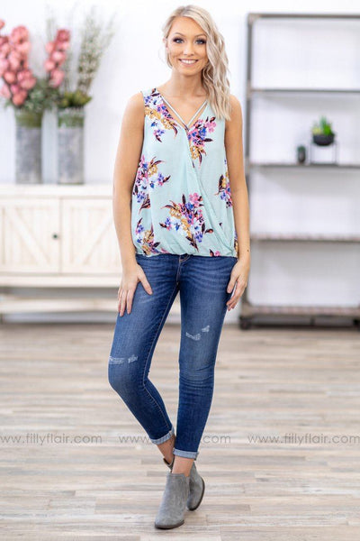 Some Kind of Beautiful Floral Wrap Tank Top in Mint - Filly Flair