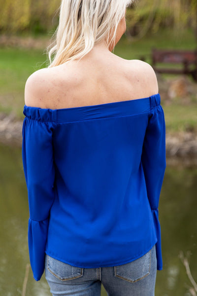 A Little Closer 3/4 Sleeve Off The Shoulder Top in Royal Blue - Filly Flair