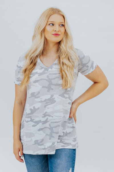 Never Growing Up Camo Print V-Neck Short Sleeve Top in Grey - Filly Flair