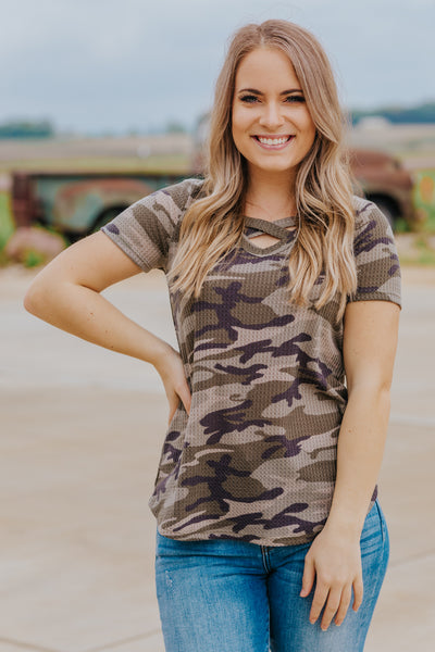 I Can't Help Myself Criss Cross Neck Short Sleeve Top in Olive - Filly Flair