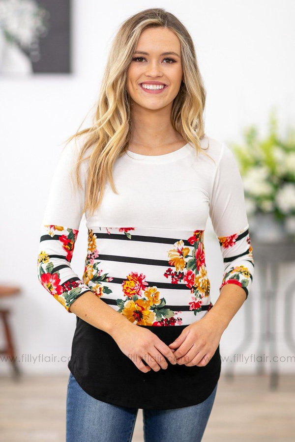 Filly Flair: Dreaming of You Floral Color Block Top in White - Filly Flair
