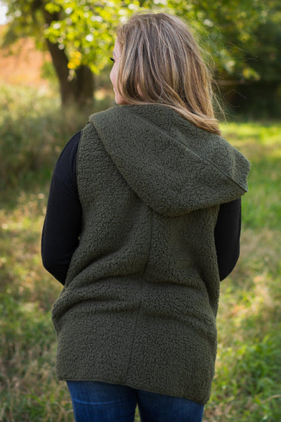 Practice Makes Permanent Hooded Vest in Dark Olive - Filly Flair