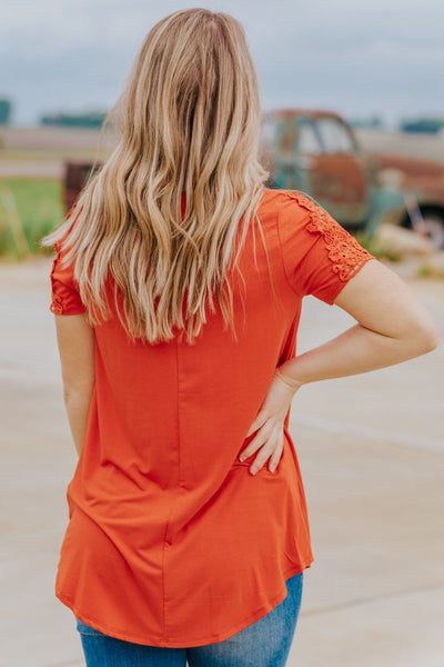 The Simple Love of Lace Detail Short Sleeve Knotted Top in Rust - Filly Flair