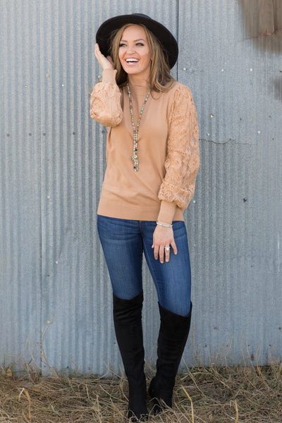 Diamonds In the Sky Lace Long Sleeve Top in Carmel - Filly Flair