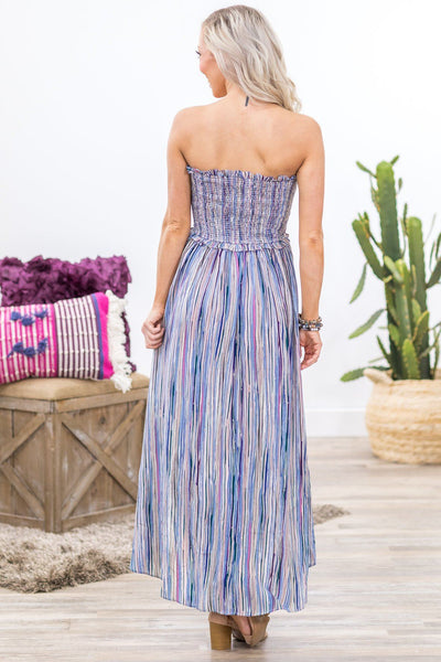 Anywhere We Go Sleeveless Smocked High Low Striped Dress in Blue - Filly Flair