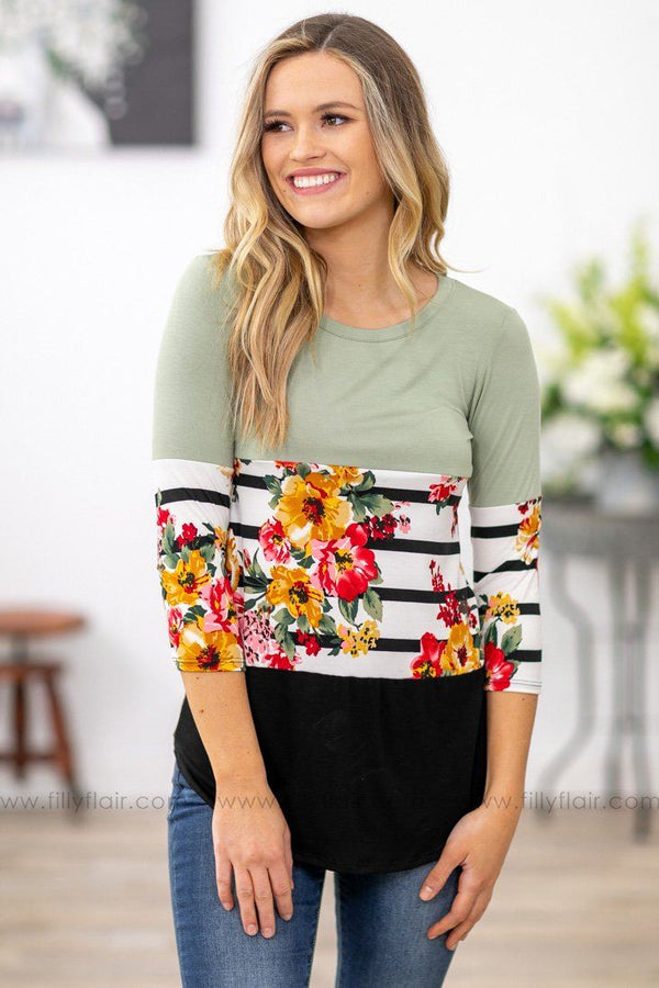 Filly Flair: Dreaming of You Floral Color Block Top in Sage Black - Filly Flair