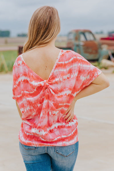 You Are Enough Tie Dye Back Knotted Short Sleeve Top in Coral - Filly Flair