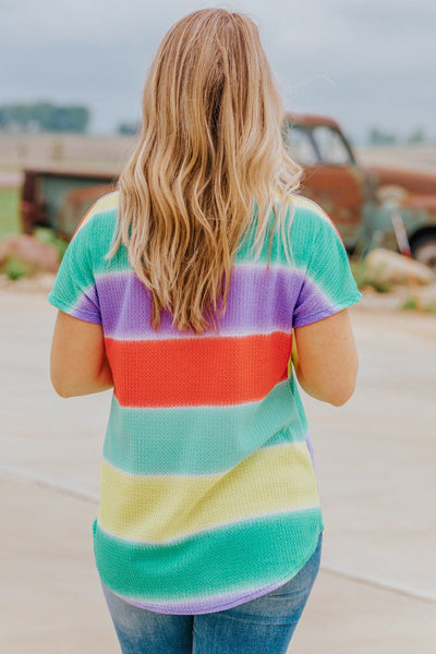 Be Someone's Hero Striped Color Block Dolman Short Sleeve Top in Mint - Filly Flair