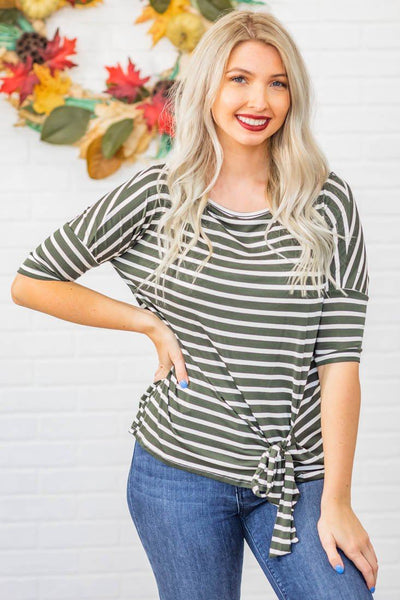 Small Town Roots Striped Front Tie Short Sleeve Top in Olive - Filly Flair