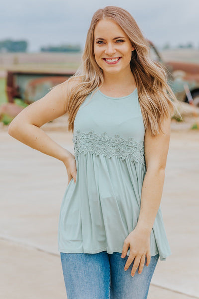 Stand By You Sleeveless Crochet Lace Baby Doll Top in Sage - Filly Flair