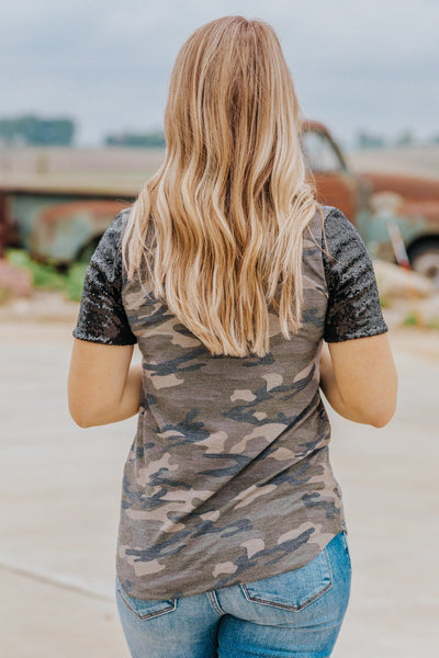 Slide Away Sparkle Short Sleeve Top in Green Camo - Filly Flair