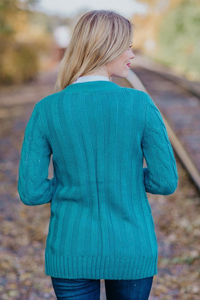 One Thing I Know For Sure Cable Knit Button Down Sweater in Dusty Teal - Filly Flair