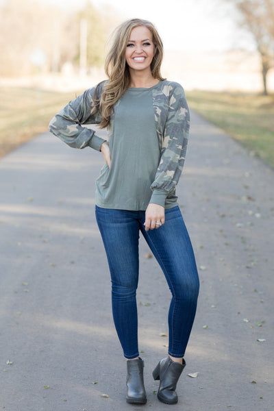 Love Your Style Top In Army Green With Camouflage Sleeves - Filly Flair