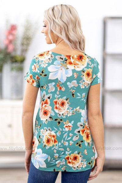 New Again Short Sleeve Floral Criss Cross Top in Sage - Filly Flair