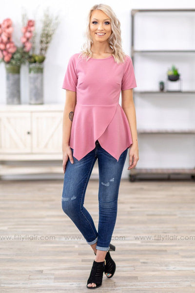 Felt So Real Short Sleeve Peplum Top in Mauve - Filly Flair