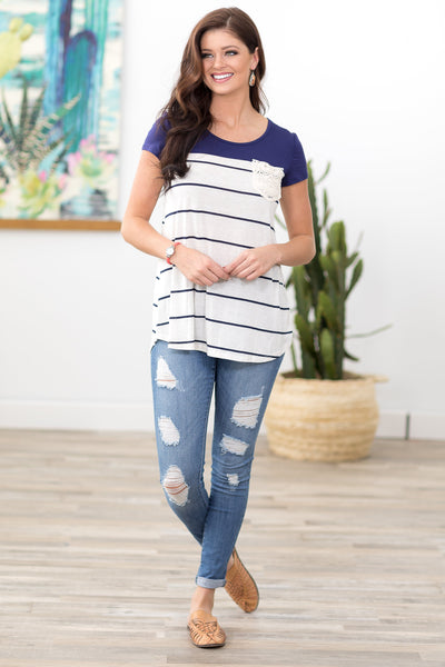 Simple in Stripes Short Sleeve Crochet Lace Pocket Top in Navy - Filly Flair