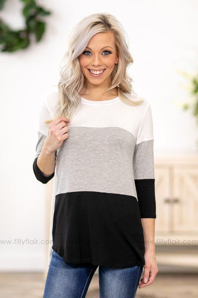 All The Chances 3/4 Sleeve Color Block Top in White Grey Black - Filly Flair
