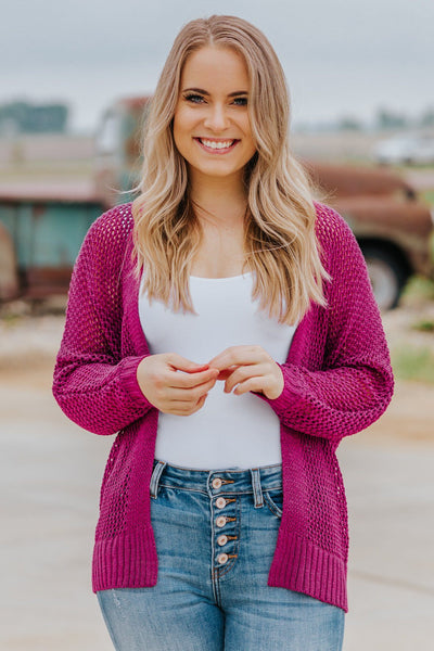 Secret To Success Knit Long Sleeve Open Front Cardigan in Magenta - Filly Flair