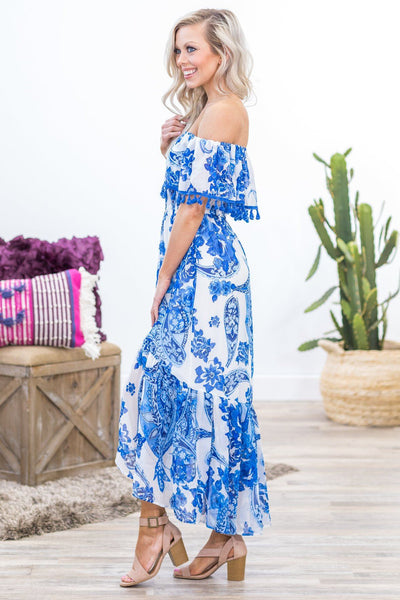 The Last Time Off The Shoulder Blue Floral Tassel Dress in White - Filly Flair