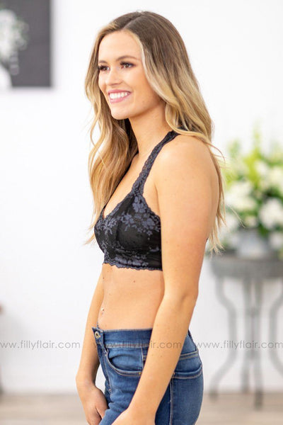 She's Dangerous Lace Bralette In Black Grey - Filly Flair