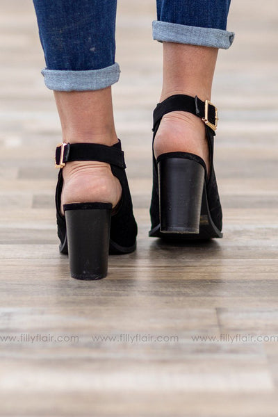 She's All Mine Triangle Laser Cut Open Toe Heels in Black - Filly Flair