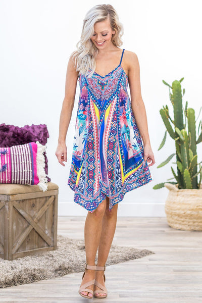 Close Enough To You Spaghetti Strap Mixed Tropical Print Dress in Blue - Filly Flair