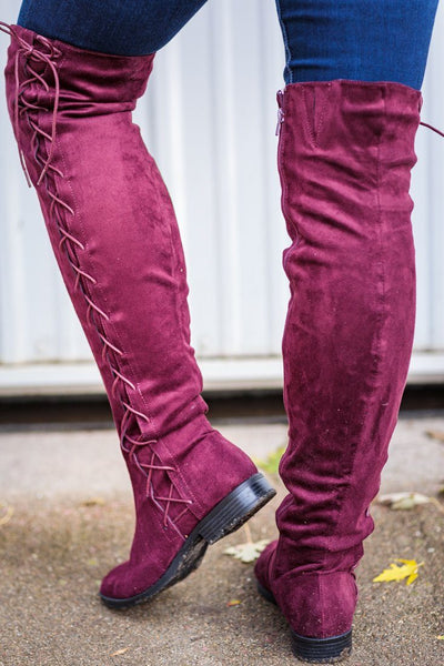 I've Got Dreams Side Lace Up Suede Tall Boot in Wine Red - Filly Flair