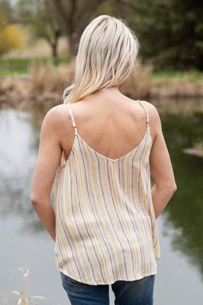 Where Do I Go Striped Button Down Tank Top in Tan Yellow White - Filly Flair