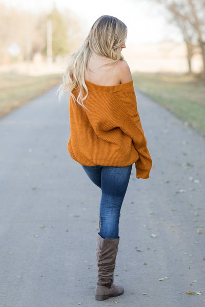 By My Side V-Neck Long Sleeve Top in Cinnamon - Filly Flair
