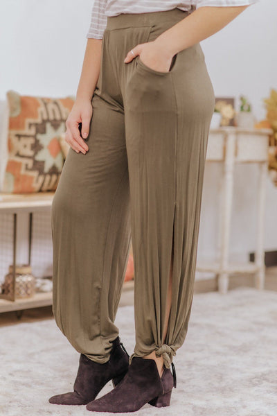 *DEAL* On To Something Good Side Slit Bow Accent Pants in Dark Olive - Filly Flair