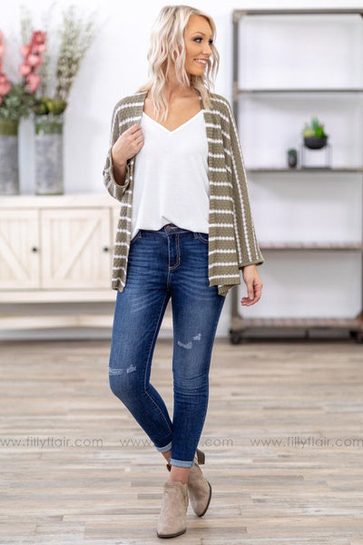 Every Striped Dream 3/4 Sleeve Dolman Knit Cardigan in White and Olive - Filly Flair