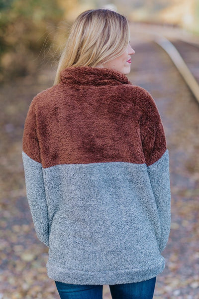 Warming Your Heart Color Block Sherpa In Brown - Filly Flair