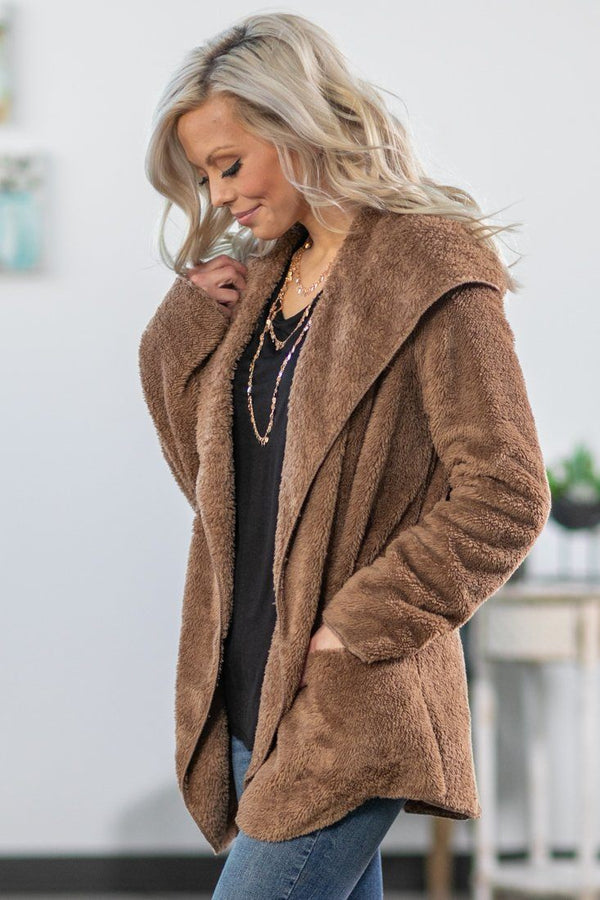 When I'm Gone Hooded Sherpa Cardigan in Mocha - Filly Flair