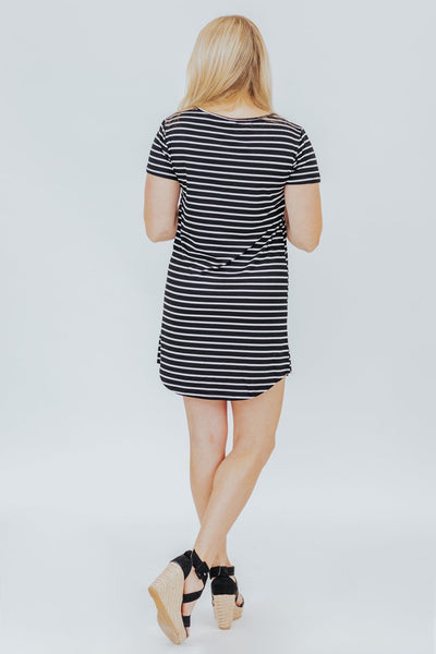 Tight Rope Striped T Shirt Dress in Black - Filly Flair