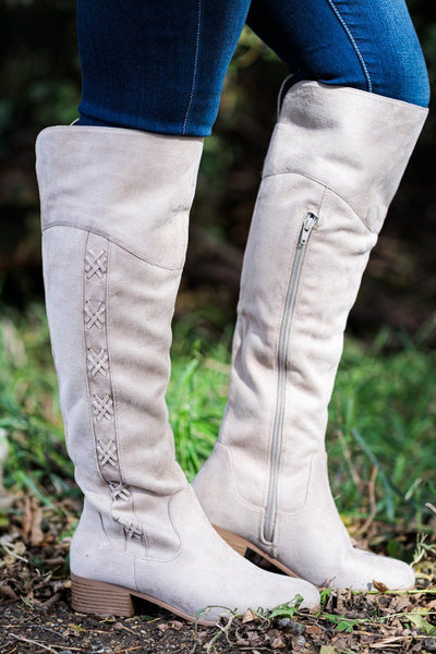 Not Your Mom's Suede Tall Boot in Bisque Tan - Filly Flair