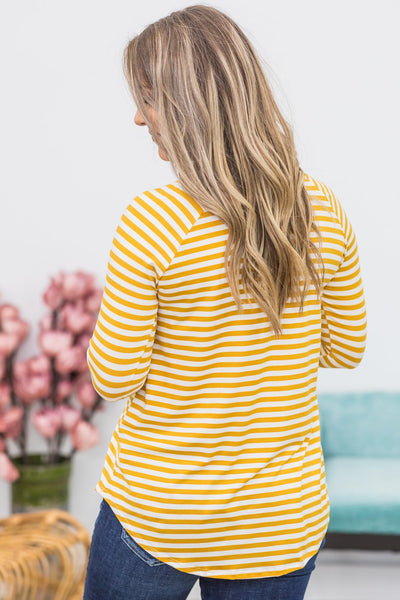 Blinded By Your Light Long Sleeve Striped Top In Mustard - Filly Flair