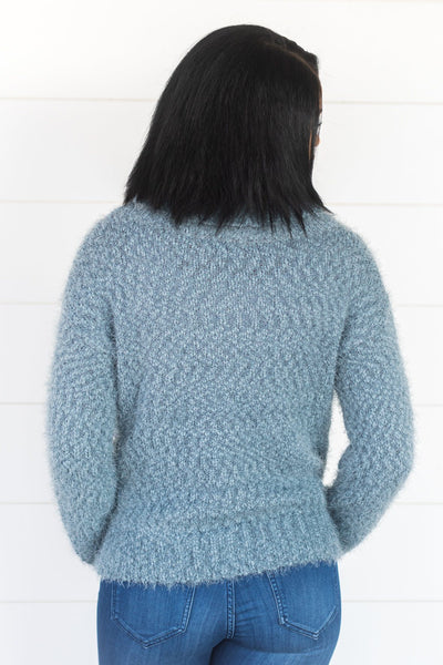Warm And Cozy Cowl Neck Long Sleeve Top in Light Teal - Filly Flair