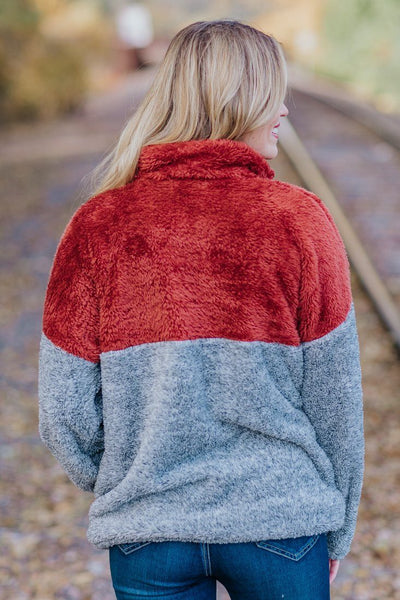 Warming Your Heart Color Block Sherpa In Rust - Filly Flair