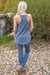 Want It That Way Ribbed Tank Top in Denim Blue - Filly Flair