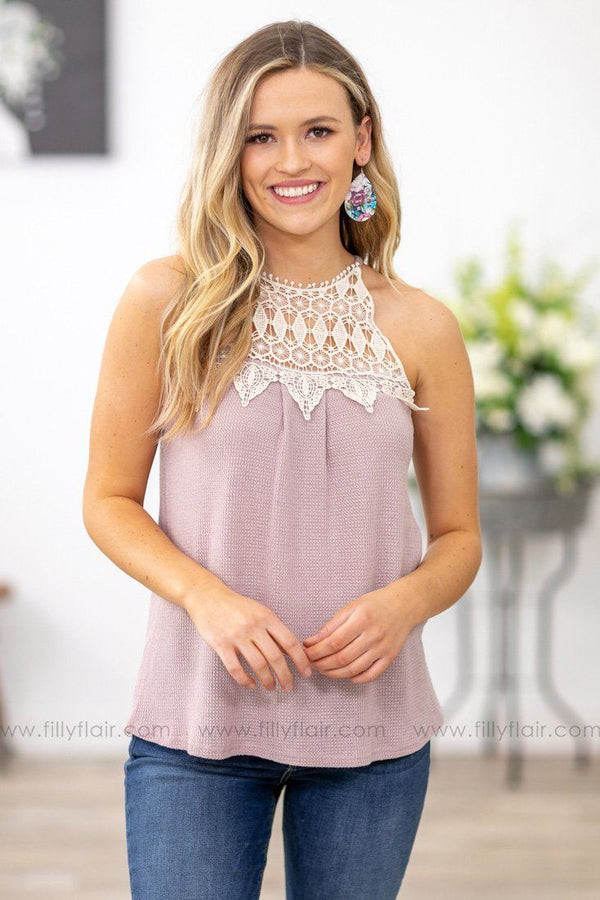 Beautiful Angel Crochet Detail Tank Top in Mauve - Filly Flair