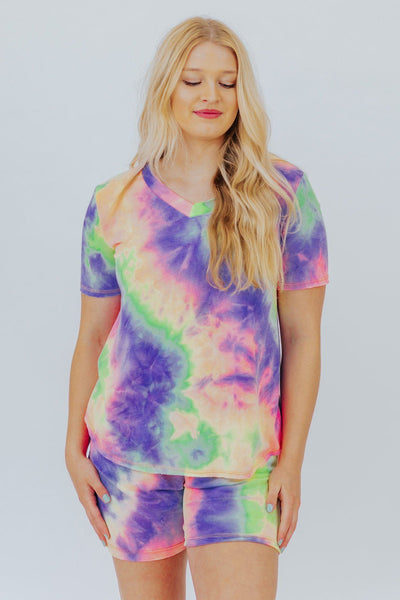 No Time Wasted Lavender Tie Dyed Tee - Filly Flair