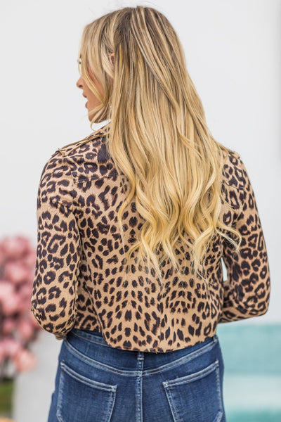A Spark In You Animal Print Short Waisted Jacket In Caramel - Filly Flair