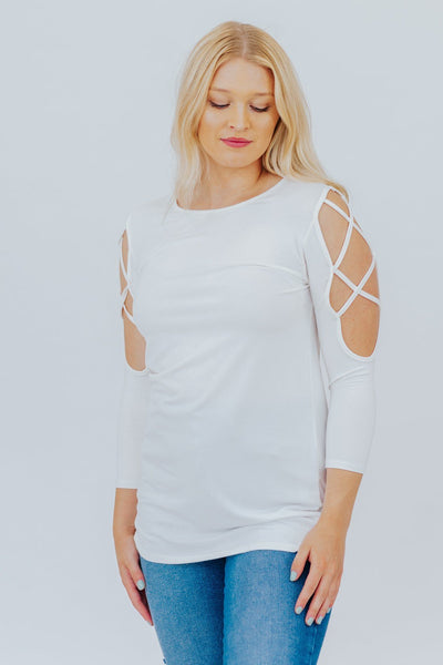 Dream On Cold Shoulder 3/4 Sleeve Top in White - Filly Flair