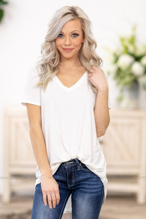 Pulls Me In Short Sleeve V Neck Basic Top in White - Filly Flair